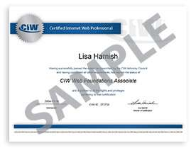 CIW sample certificate